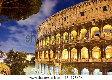 Coliseum at night, Rome - Italy