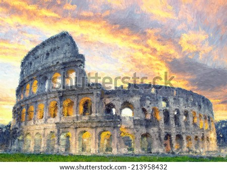 Coliseum painted in impressionist style - stock photo