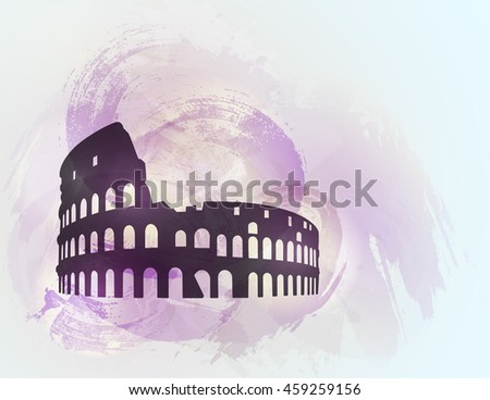 Coliseum ruin silhouette on colorful background. Coliseum sign. Tourism sight. Raster version. - stock photo