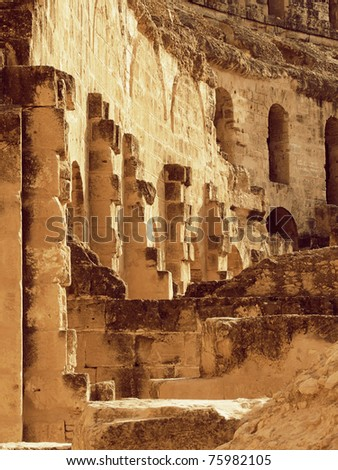 Coliseum  ruins,  El Djemâ Tunisia, signs of antique civilization - stock photo
