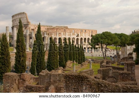 Coliseum with ruins in the foreground