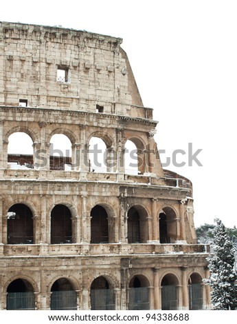 Coliseum with snow, Rome.