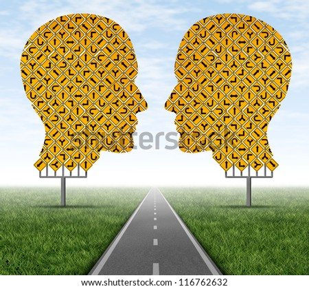 Collaborating together allowing to focus on a clear path by working as a team to achieve a common goal as shown by group of street signs in the shape of a human head with a consensus highway. - stock photo