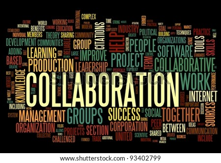 Collaboration concept in word tag cloud isolated on black background - stock photo