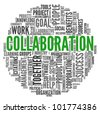 Collaboration concept in word tag cloud isolated on white background - stock vector