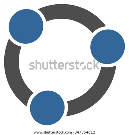 Collaboration glyph icon. Style is bicolor flat symbol, cobalt and gray colors, rounded angles, white background.