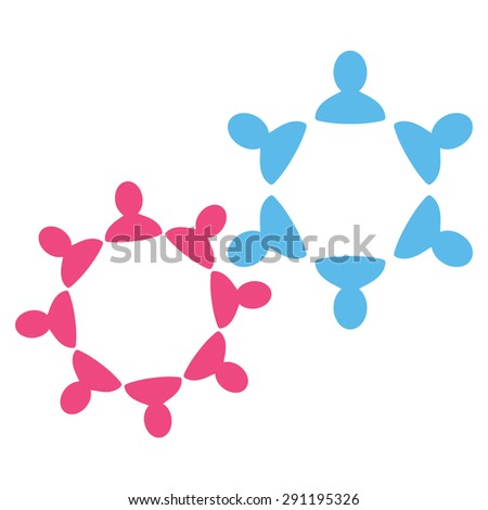 Collaboration icon from Commerce Set. Glyph style: bicolor flat symbol, pink and blue colors, rounded angles, white background. - stock photo