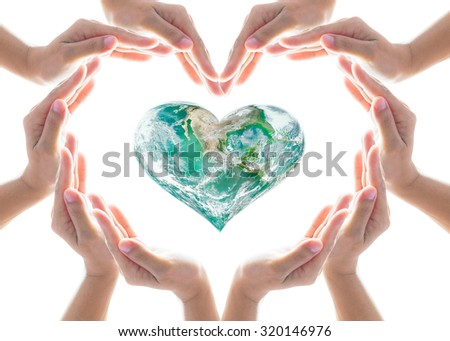 Collaborative human people hands grouped in heart shape around green healthy heart globe isolated on white background: World heart health day CSR ESG concept: Elements of this image furnished by NASA