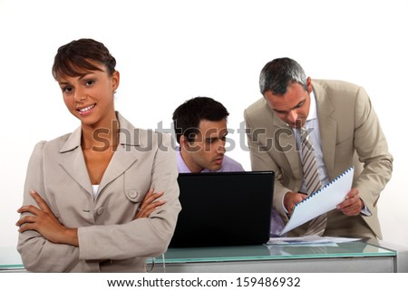 Collaborators in office - stock photo