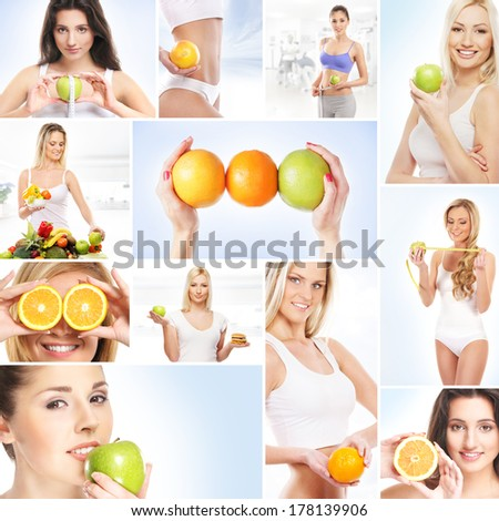 Collage about dieting, healthy eating, fitness, sport, nutrition and health care - stock photo