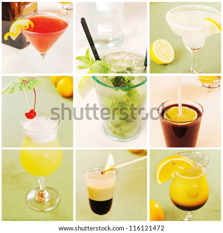 Collage about different cocktails - stock photo