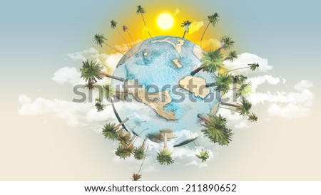 Collage about tourism and travel with planet earth - stock photo