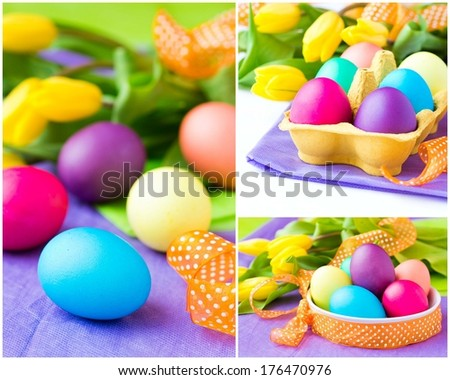 Collage, assortment of colorful easter eggs with yellow tulips flowers