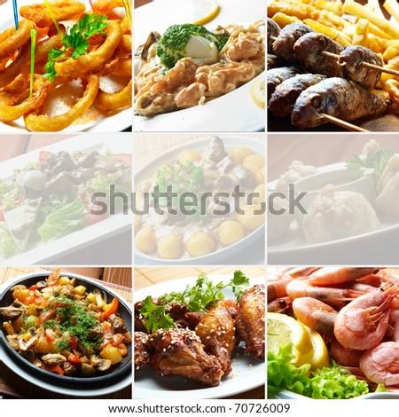collage bar food - stock photo