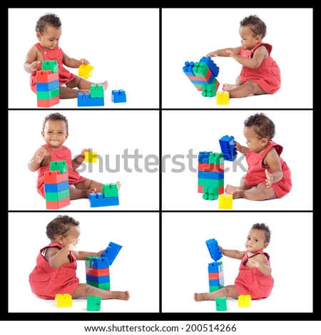 Collage beautiful baby playing with building blocks isolated on white background - stock photo