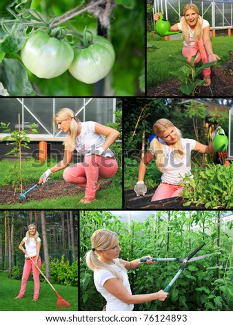 Collage. Beautiful casual woman gardening - stock photo