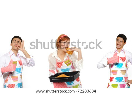 collage. Beautiful cooking woman and chiabatta bread and 2 man - stock photo