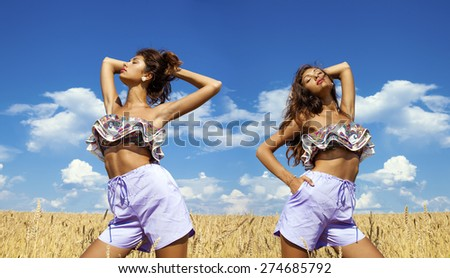 Collage, Beautiful sexy young women in blue shorts in a wheat golden field - stock photo