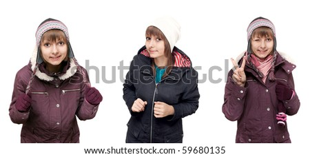 Collage beautiful young girl in winter to cloth on white background. Picture built from several pictures - stock photo