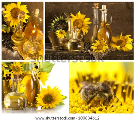 Collage Bottle of sunflower oil with flower - stock photo