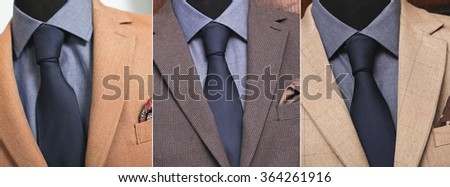 collage business suit: the same tie with different coats - stock photo
