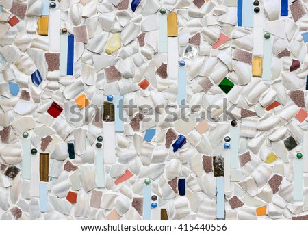 Collage ceramic tile on the church wall of the Thai temple. - stock photo