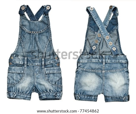collage children's denim shorts with suspenders on a white background. image is composed of several photographs. - stock photo