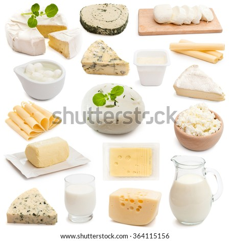 collage collection dairy products on a white background - stock photo