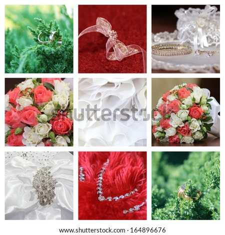 Collage collection of nine wedding photos  - stock photo