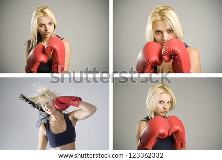 Collage combination of pretty fit blond woman boxer training or working out with red boxing gloves - stock photo