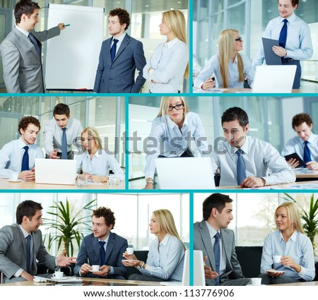 Collage composed of images of business companions working in team - stock photo