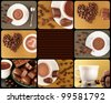 Collage composed of photos of chocolate sweets, coffee beans and hot cocoa in a cup - stock photo