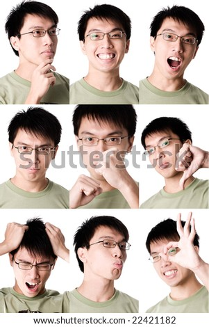 collage expression of asian male - stock photo