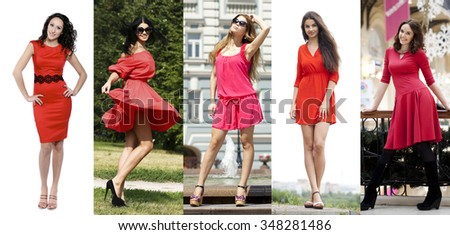 Collage five women in red dress