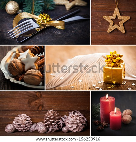 collage for christmas with cookies and canldes   - stock photo
