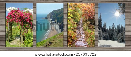 Collage - four seasons on wooden board background. rambler rose arch, coastal landscape, alpine hiking trail in autumn, wintry forest glade. - stock photo