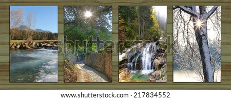 Collage - four seasons on wooden board background. river at springtime, sunny path through olive grove, mountain brook with cascades, snow covered tree with sunburst. - stock photo