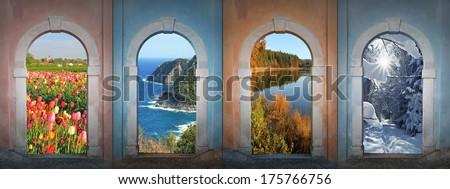 collage four seasons - tulip field, coastal landscape, autumnal pond, winter forest. - stock photo