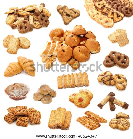 Collage from cookies isolated on white background