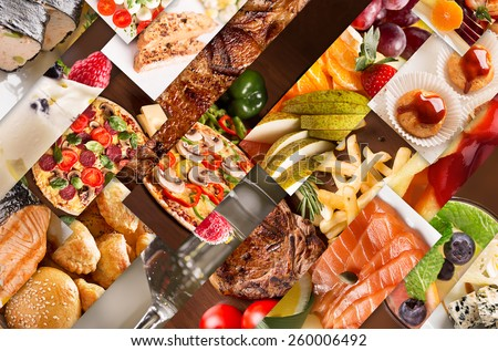 Collage from different pictures of tasty food and drinks - stock photo