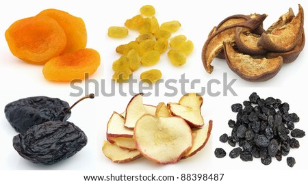 Collage from dried fruits - stock photo
