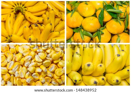 Collage from fresh fruit and vegetables yellow - stock photo