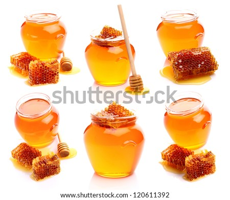 Collage from honey and honeycombs - stock photo