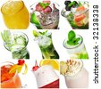 Collage from nine Cocktail Photographs Isolated over White - stock photo