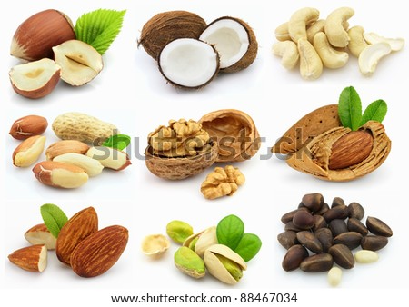Collage from nuts - stock photo