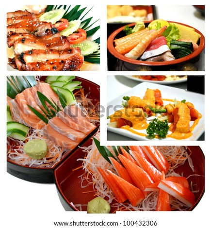Collage from photographs of Japanese cuisine  .