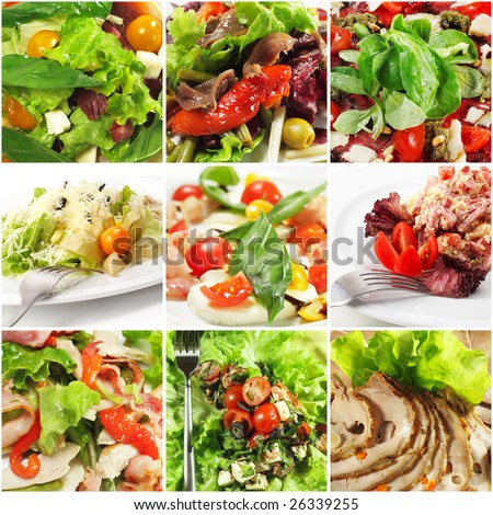 Collage from Photographs of Seafood and Meat Salad with Rich Greens - stock photo