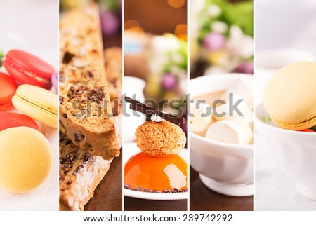 Collage from photos of delicious desserts and sweets - stock photo