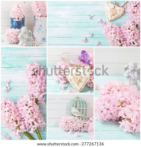 Collage from photos with fresh flowers hyacinths  and decorative heart, angel on turquoise painted wooden planks against white wooden wall. Selective focus. - stock photo