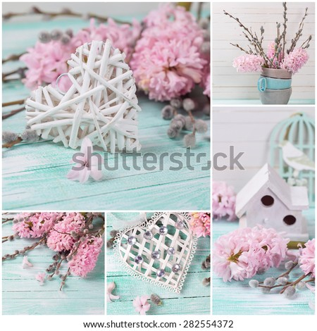 Collage from photos with white decorative heart with  pink hyacinths, willow flowers on turquoise painted wooden planks. Selective focus.  - stock photo